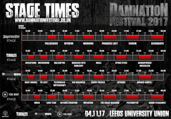 Damnation Stage Times