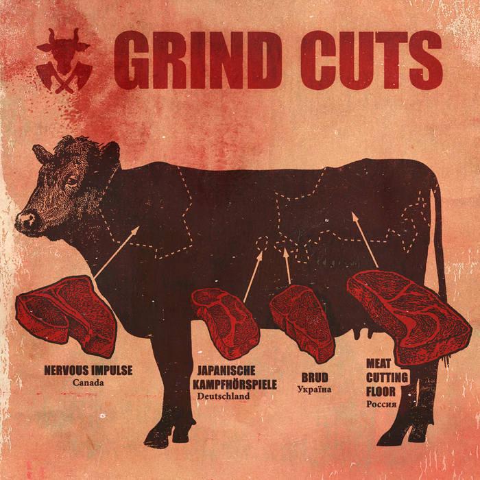 Nervous Impulse/Meat Cutting Floor/Japanische Kampfhörspiele/Brud – Grind Cuts 4 Way – Split(Review)