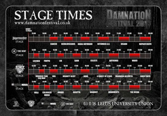 Damnation Festival 2018 Times