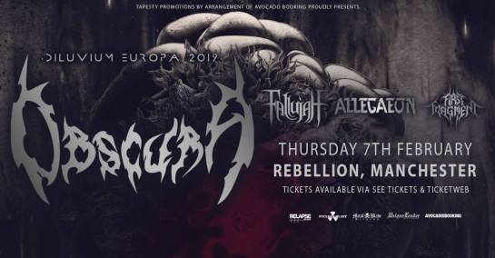 Diluvium Europa 2019 Tour - First Fragment Allegaeon Fallujah Obscura – Manchester Rebellion Live Review